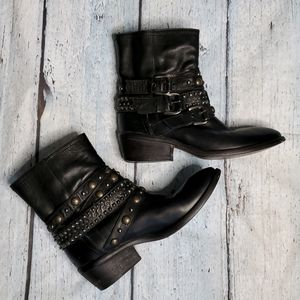 Barneys NY CO-OP leather studded boots,